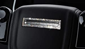 NIUHURU Car Interior Trim Bling Accessories fit for Land Rover Range Rover Evoque 2014-2018 Women Rhinestone Crystal Decals Accessories (Silver, Steering Wheel Cover 1pc)