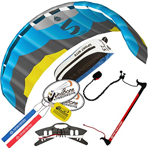 HQ Symphony Pro 2.5 Kite Edge Blue Yellow w Control Bar Bundle (4 Items) + Peter Lynn 2-Line Control Bar w Safety Leash + WindBone Kiteboarding Lifestyle Stickers + WBK Key Chain – Foil Trainer Kit by HQ Power Kites, Peter Lynn, WindBone