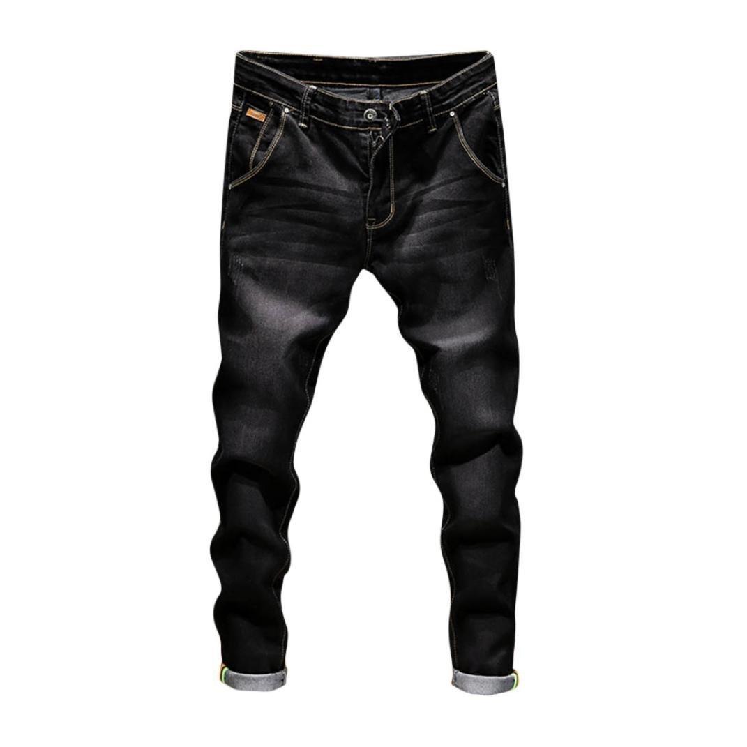 PASATO New Hot!Men's Casual Autumn Denim Cotton Vintage Wash Hip Hop Work Trousers Jeans Pants(Black, 36)