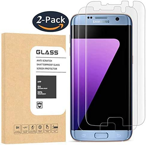 [2 Pack] Galaxy S7 Edge Tempered Glass Screen Protector, OLINKIT [Half Coverage] [9H Hardness] [Anti-Scratches] [Anti-Fingerprint] [Bubble-Free] Premium HD Screen Protector for Samsung Galaxy S7 Edge