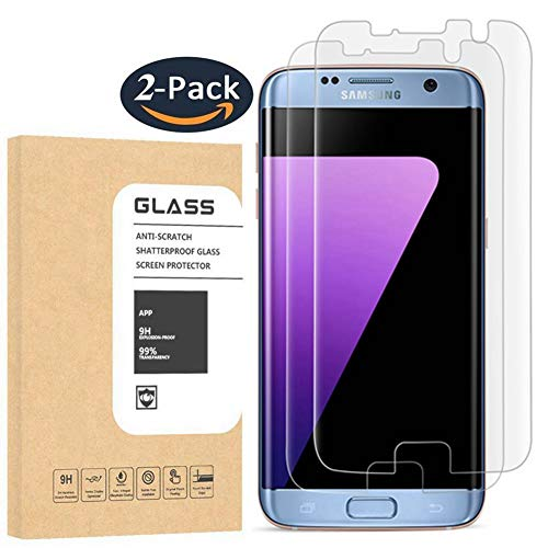 [2 Pack] Galaxy S7 Edge Tempered Glass Screen Protector, TEIROO [Half Coverage] [9H Hardness] [Anti-Scratches] [Anti-Fingerprint] [Bubble-Free] Premium HD Screen Protector for Samsung Galaxy S7 Edge (Best Tempered Glass Screen Protector S7)