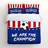Duvet Cover Sets with Zipper Closure,Full-4 Pieces Ultra Soft Hypoallergenic Microfiber-World Cup Soccer Championship USA Team We are champions