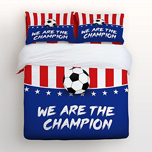 (4 Piece Duvet Cover with 2 Pillow Shams and 1 Sheet, The World Cup Soccer Championship USA Team Bedding Sets Twin/Full/Queen/King Size)