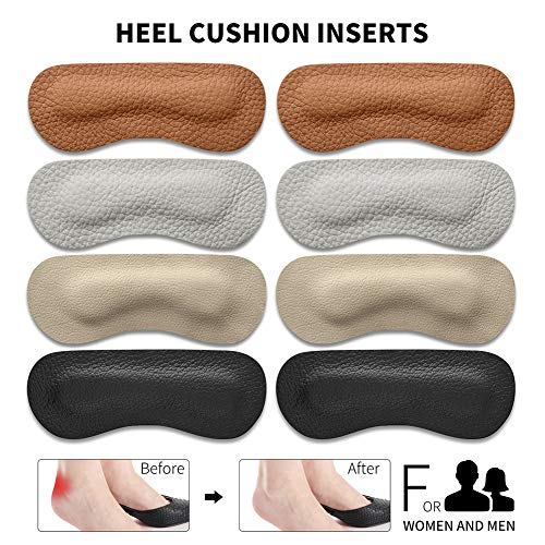 Heel Cushion Pads - OtoVan Thick Heel Grips Liner Insert for Shoes Too Big, Self-Adhesive Shoe Insoles Foot Care Protector,Leather Prevent Blisters,4 Pairs Unisex (Multicolor)