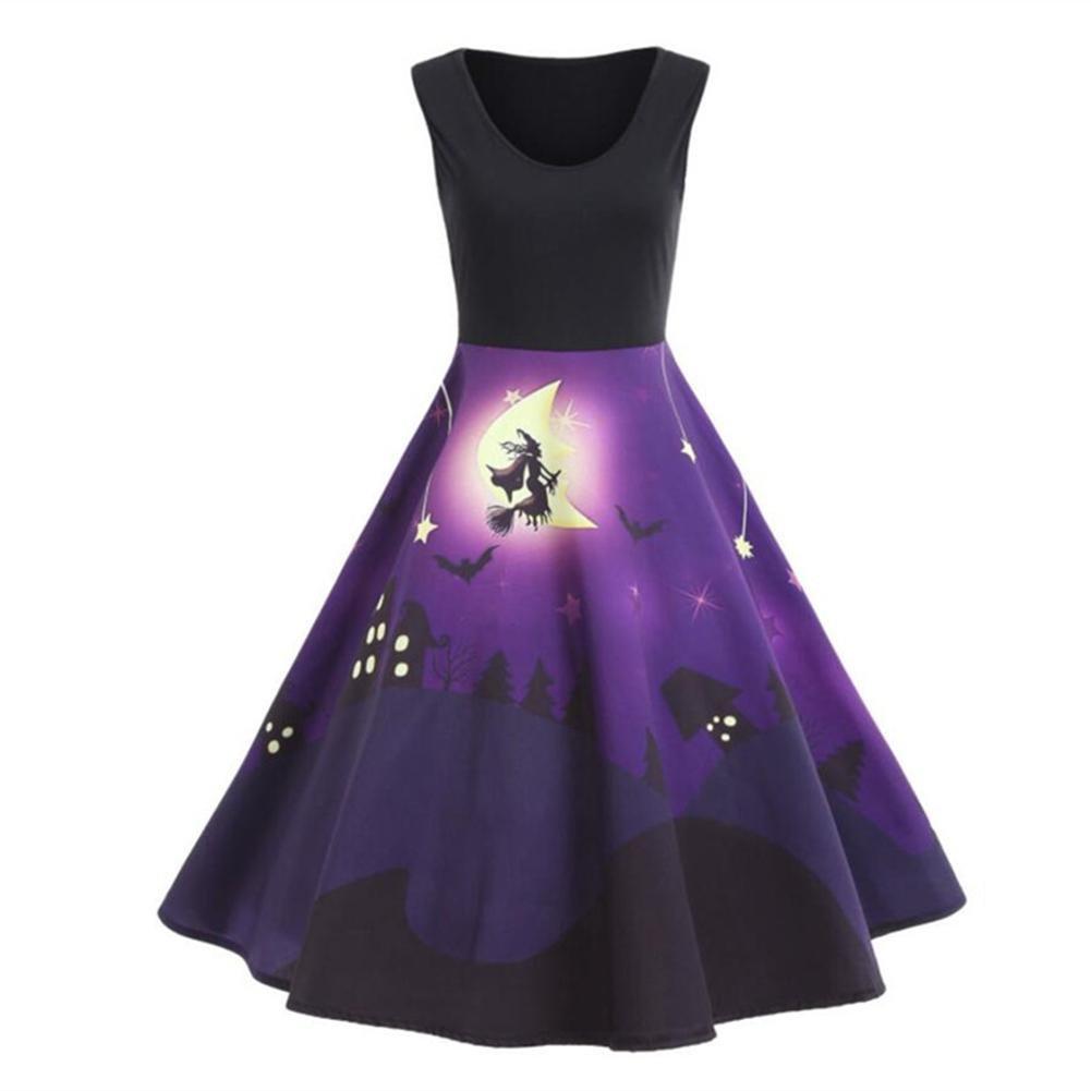 Fancylande Disfraz Vestido Halloween, Retro Halloween Modelo Impresión Grande Vestido sin Mango, Morado, XXL: Amazon.es: Hogar