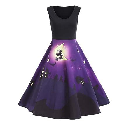 Fancylande Disfraz Vestido Halloween, Retro Halloween Modelo Impresión Grande Vestido sin Mango, Morado,