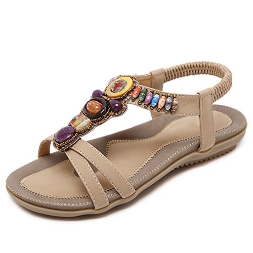 Zapatillas ZHANGRONG- Cordón Redondo del Dedo del pie de Las Mujeres Sandalias Elásticas de la T-Correa Sandalias Planas del Poste de la Playa del Verano (Color : A, Tamaño : EU43/UK9/CN44) A