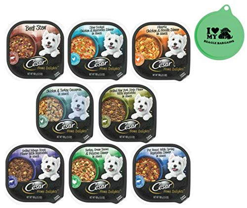 Cesar Home Delights Wet Dog Food - 8 Flavor Variety Bundle, 3.5 Oz Each - Pack of 8 Plus Can Cover (9 Items Total)
