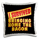Dooni Designs Survive Sayings - I Survived Bringing Home The Bacon Survial Pride And Humor Design - 16x16 inch Pillow Case (pc_117813_1)