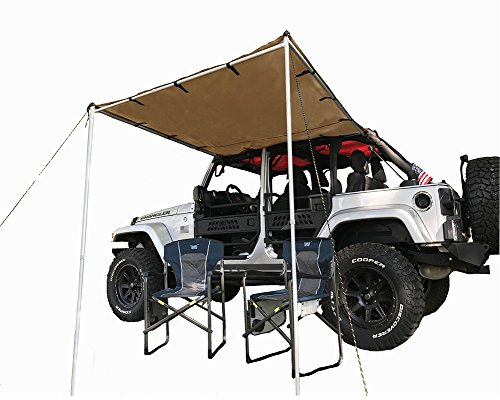 Tentproinc Car Side Awning Tent Designed for Jeep Wrangler JKU Vehicle with Roof Rack - 6' X 6.5', Tan