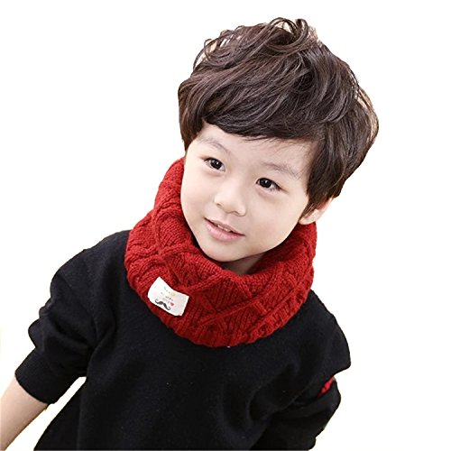 (Leories Kids Winter Neck Warmer Thick Knitted Winter Warm Infinity Scarf Circle Loop Scarves Red)