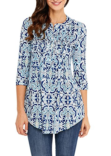 3/4 Sleeve Floral Tunic - Aincrso Women Floral Tunic with 3/4 Sleeves - Long Casual Floral Shirt Blouse with Round Neck – Buttons up Top Shirt