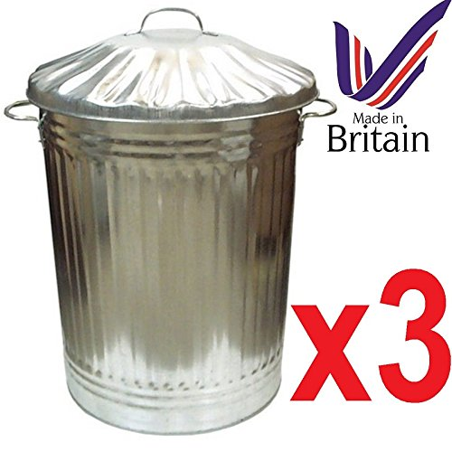 Easy Shopping 3  x Large 90L contenitori in metallo zincato Bin pattumiera spazzatura mangimi per animali. Made in UK.