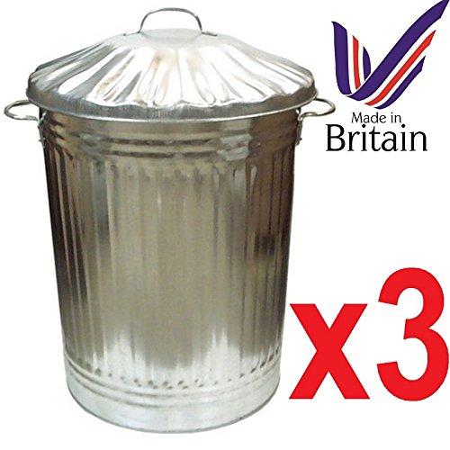 Easy Shopping 3 x Large 90L contenitori in metallo zincato Bin pattumiera spazzatura mangimi per animali. Made in UK.