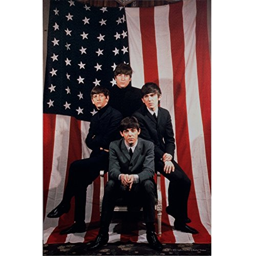The Beatles - American Flag 1964 Tour Ad Large Canvas Art
