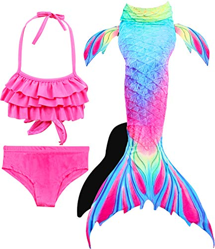 Girls 4 Pcs Swimsuits Mermaid Tails for Swimming Costume Support Monofin Princess Bikini Set Dress Up Party (3T-4T/Ht42-44in/Tag 110, C Upgraded Flower and Bird -