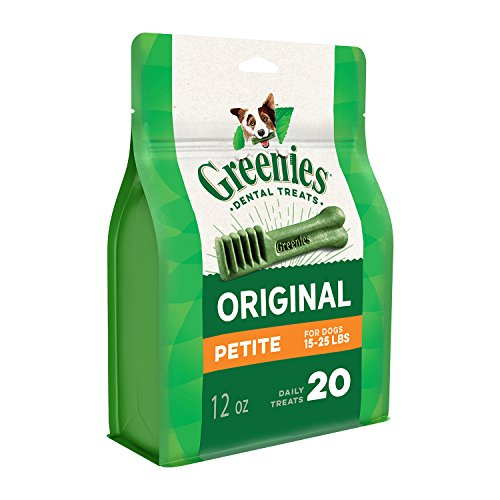 GREENIES Original Petite Natural Dental Dog Treats, 12 oz. Pack (20 Treats)]()