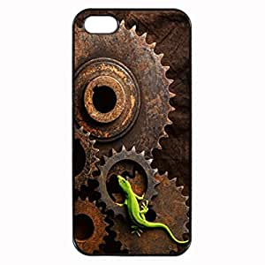 iPhone 5 5S Case - Lizard On Gears Patterned Protective Skin Hard Case Cover for Apple iPhone 5 / 5S - Haxlly Designs Case hjbrhga1544