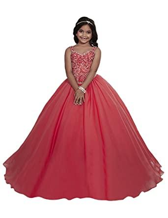 Amazon.com: DFDE Princess Girls Red Kids Ball Gowns Dance Pageant ...