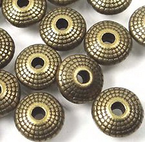 - Burts Beads - 25 Antique Bronze Pewter Disc Spacer Rondelle 8mm Lead-Free NJOY13033