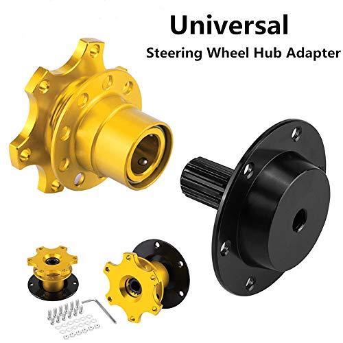 VEPEN Car Steering Wheel Hub Adapter, Quick Release Racing Adapter Snap Off Boss Kit Golden Universal Boss Jdm Racing Steering Wheel