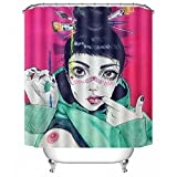 POPS AMERICA Mildew Resistant White Bath Curtains 66'' X 72'' - Sexy Goth Gothic Women Girl Breast Art Pink Shower Curtain Liner - Waterproof Polyester Fabric Bathroom Decor Set 12 Hooks