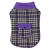 East Side Collection 10-Inch Polyester Houndstooth Dog Coat, X-Small, Ultra Violet, My Pet Supplies
