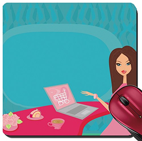 Liili Suqare Mousepad 8x8 Inch Mouse Pads/Mat Online shopping young smiling woman sitting with laptop computer IMAGE ID - Shopping In California Online Usa