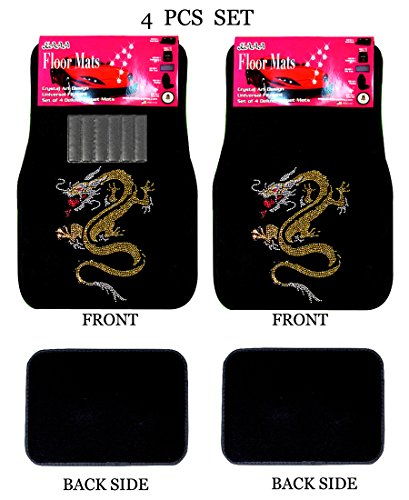 Universal Fit Front/Rear 4-Piece Full Set Crystal Bling Rhinestone Studded Carpet Car SUV Truck Floor Mats (Gold Dragon/Black)