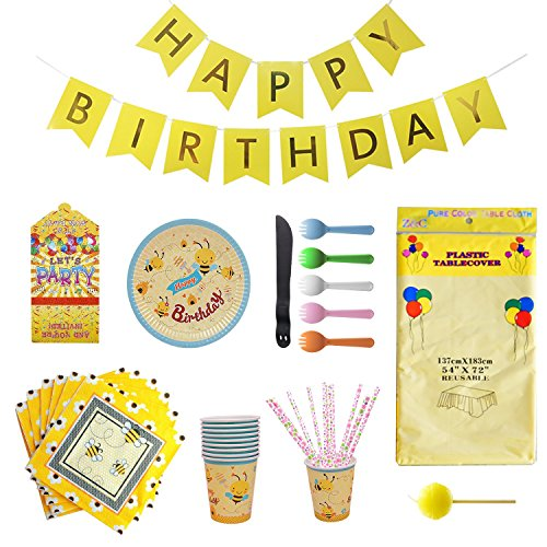 Bee Party Supplies Set for Kids Birthday and Celebration 10 Guests, Including Plates,Cups, Napkins,Cutlery,Tablecloths,Banner, Invitation card