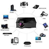 Unic UC46 Mini WiFi Portable LED Projector with Miracast DLNA Airplay - Black