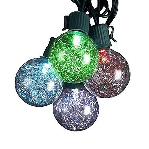 - Kurt Adler UL 10-Light G40 Tinsel Balls LED Light Set, Silver