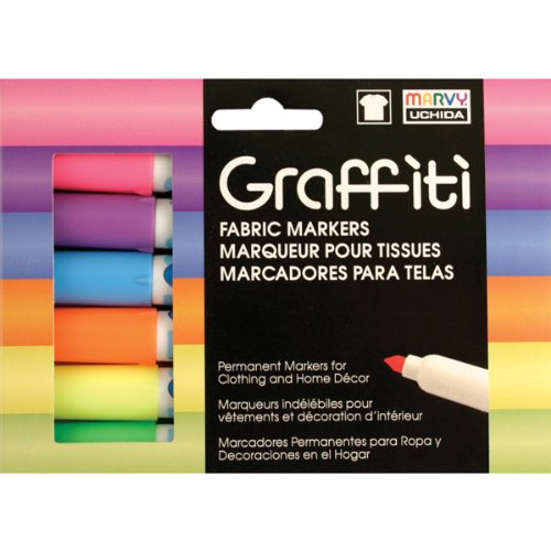 Uchida Of America 560-6C Graffiti Fabric Marker Fluorescent Set