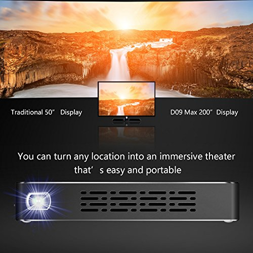 YUANCIN DLP Mini Projector Android Portable Smart Wireless Wifi Home Outdoor Office Projector, Support Automatic Keystone Correction and Bluetooth HD 1080P HDMI-IN USB TF-card by Yuancin (Image #5)