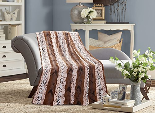 De Moocci Animal Skin Printed Reversible Faux Fur Blanket Back with Micromink, Super Soft Warm Plush, TWIN 63''x87''