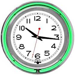 Lavish Home Retro Neon Wall Clock - Battery Operated Wall Clock Vintage Bar Garage Kitchen Game Room - 14 Inch Round Analog (Green and White)