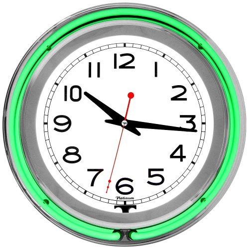 Lavish Home Retro Neon Wall Clock - Battery Operated Wall Clock Vintage Bar Garage Kitchen Game Room - 14 Inch Round Analog (Green and White) (Awesome Clock Neon)