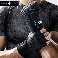 Nano Hertz Weight-Lifting Workout Gloves with Wrist Wrap...
