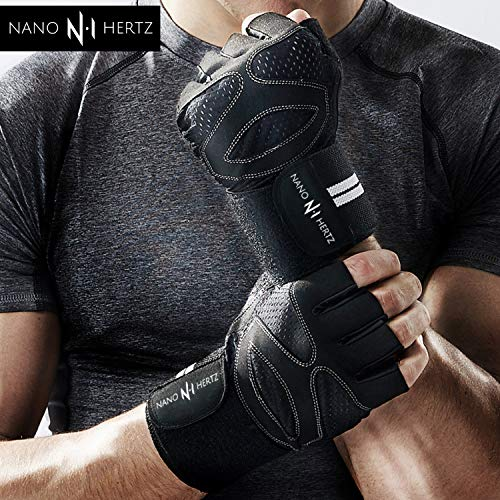 e60e04b7a0fc6 Nano Hertz Weightlifting Workout Gloves with Wrist Wrap Support ...