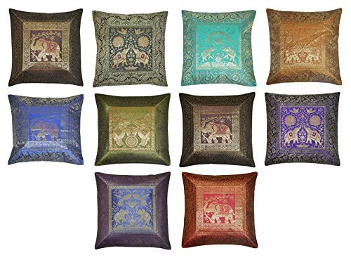 Lalhaveli 10 Pc Lot Square Silk Home Decor Cushion Cover, Indian Silk Brocade Pillow Cover, Handmade Banarsi Pillow Cover 16 X 16 Inch