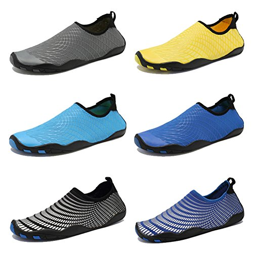 CIOR Men Women Kid's Barefoot Quick-Dry Water Sports Aqua Shoes with 14 Drainage Holes for Swim, Walking, Yoga, Lake, Beach, Garden, Park, Driving,SYY04,w.Grey,38 2