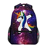ZZKKO Space Galaxy Animal Unicorn Backpacks College School Book Bag Travel Hiking Camping Daypack