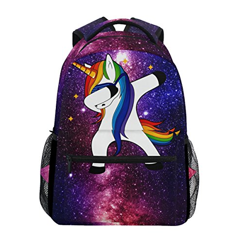 ZZKKO Space Galaxy Animal Unicorn Computer Backpacks Book Bag Travel Hiking Camping Daypack -