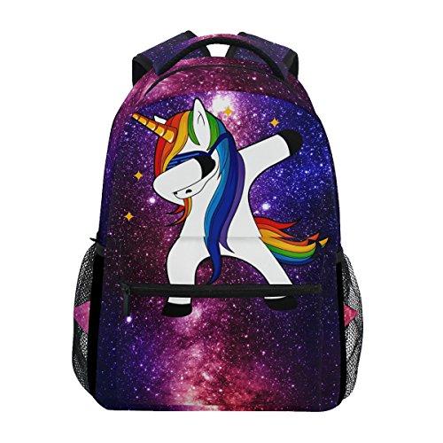 ZZKKO Space Galaxy Animal Unicorn Backpacks School Book Bag Travel Hiking Camping Daypack