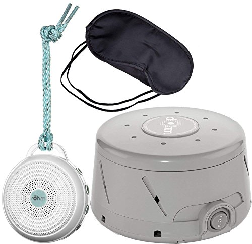 Marpac Dohm-DS All Natural Sound Machine - Gray, Marpac Rohm Portable Electronic White Noise Sound Machine - White & Zonoz Sleepy Eyez Lightweight Sleeping Mask (Home, Away & Mask Bundle)