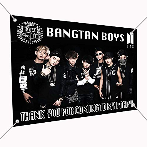 BTS Bangtan Boys K-Pop Banner Large Vinyl Indoor or Outdoor Banner Sign Poster Backdrop, Party Favor Decoration, 30 x 24, 2.5 x 2, South Korean Boy Band Jin Suga J-Hope RM Jimin V Jungkook