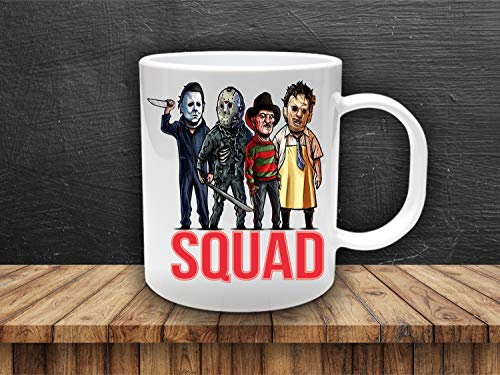 Jason Squad, Horror movie charcter mugs, scary movie, Freddie Kruger, Michael Meyers mug, Halloween Mug -