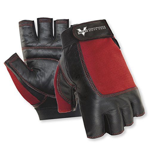 Valeo Industrial V336 Material Handling Fingerless Leather Gloves with Padded Palms, VI5159, Pair, Red, Medium ()