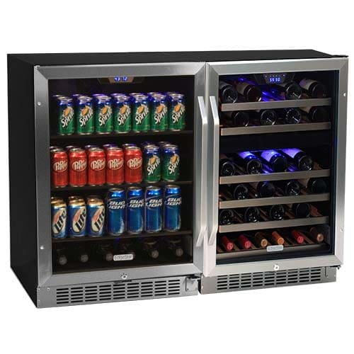 Edgestar CWBV14846 46 Bottle + 148 Can Side-by-Side Wine & Beverage Cooler Center by EdgeStar
