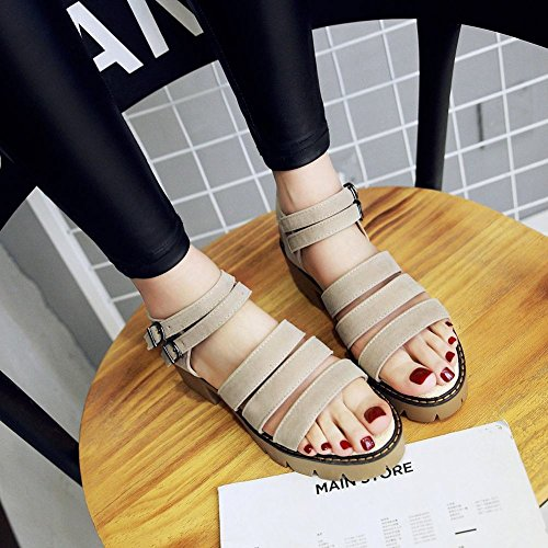 Mee Shoes Damen chunky heels open toe Slingback Sandalen Beige